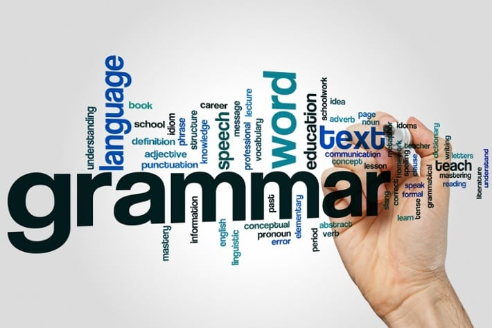 Grammar instruction word cloud