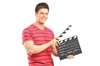 man with clapboard