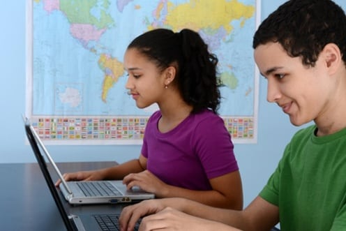 students accessing a LMS in classroom