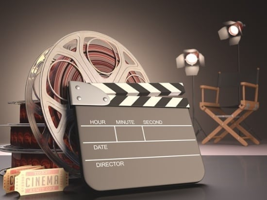 movie clapboard and reel