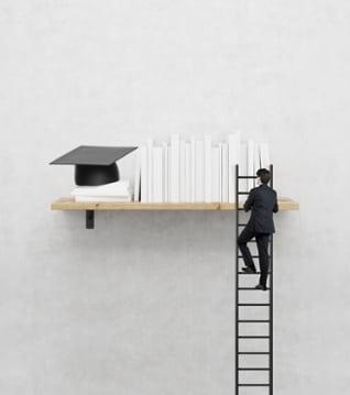student climbing ladder