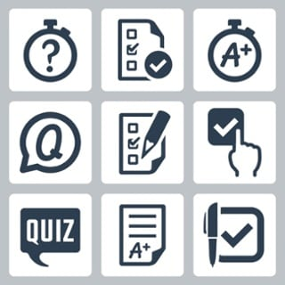 icons related to educational content and assessment