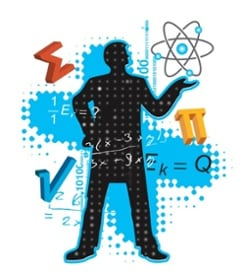 man surrounded by calculus symbols