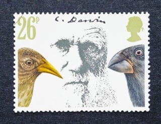 charles darwin on a stamp