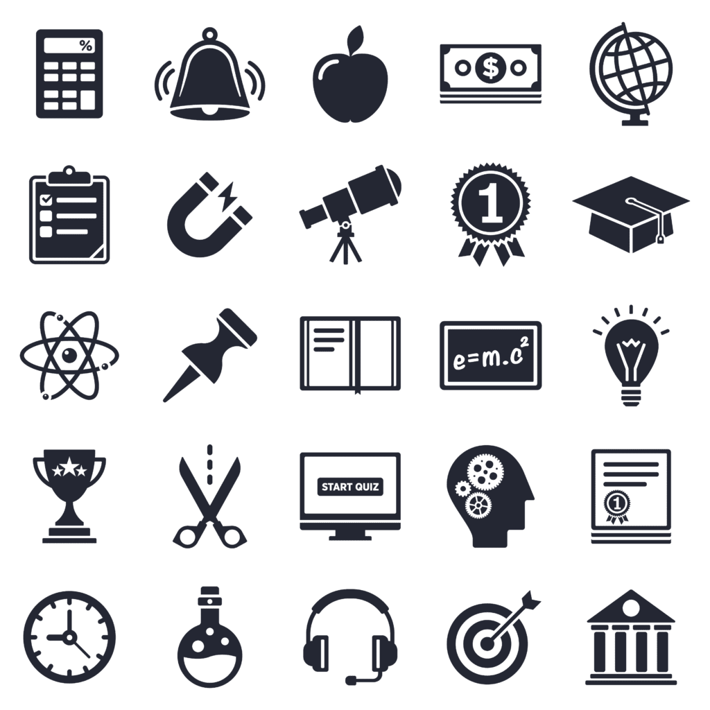 Icons describing available options in micro-credentialing