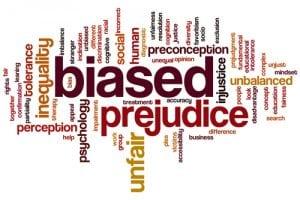 word cloud to explain bias definition like prejudice